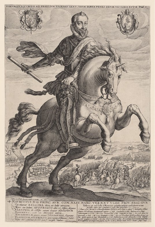 Ruiterportret van Maurits, prins van Oranje, Crispijn van de Passe (I), 1600. Gravure, h 436mm × b 294mm, collectie Rijksmuseum