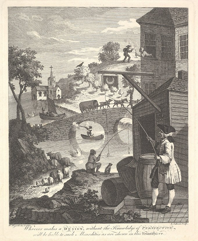 William Hogarth (1697-1764) 'Satire on False Perspective' Frontispiece to Kirby's Perspective. Bron: Wikimedia Commons.