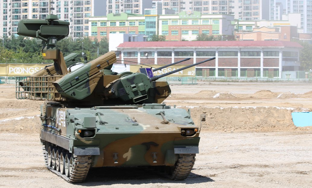 South Korean army upgraded BiHo with 30mm cannon and surface-to-air missiles, shown at DX Korea 2018, defence exhibition in South Korea. September 2018.