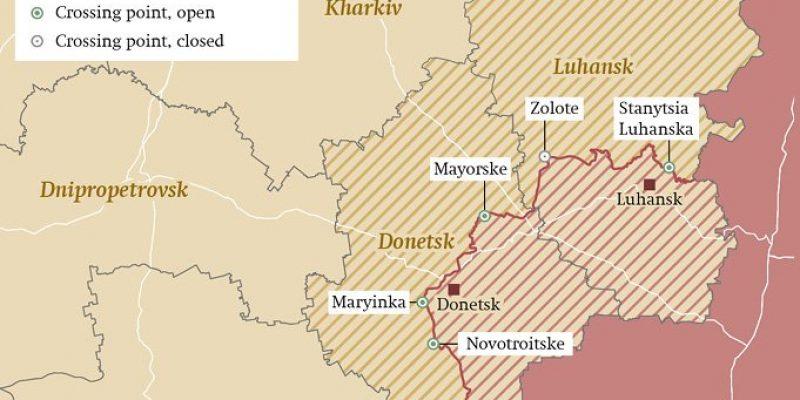 Het omstreden gebied van Oost Oekraïne.
