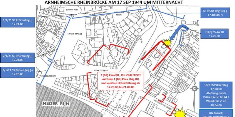 Figuur 7a dispositie Duitse eenheden rond de Rijnbrug 17 september